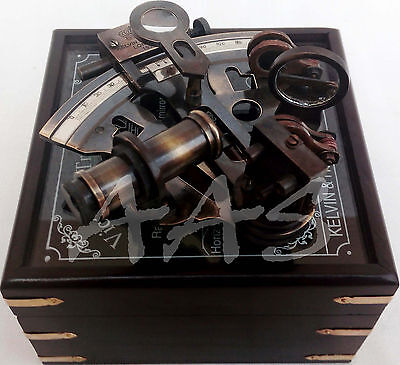 "Ship Captain's Nautical Brass Sextant 4"" With Wooden Box-Kelvin & Hughes London"