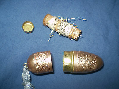 vintage old Sewing ORNATE BRASS Thimble kit wooden reel
