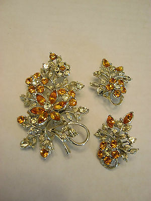 Coro vintage signed brooch & matching clip on earrings, amber rhinestones