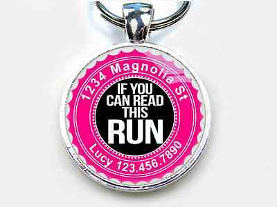 If You Can Read This Run hot pink CUSTOM funny 11 colors pet dog cat tag