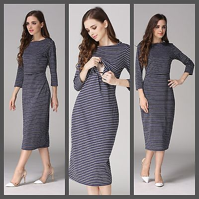 Sale!! Bnwt Stripe Maternity Breastfeeding Nursing Dress Size M L Xl 10 12 14 16