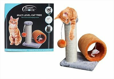 Mutli Level Cat Tree Cat Scratch Post With Play Tunnel Pet Kittens  Sisal SC961