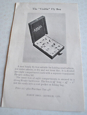 "Scarce Vintage Hardy's ""visible"" Fly Box Advertising Sheet"