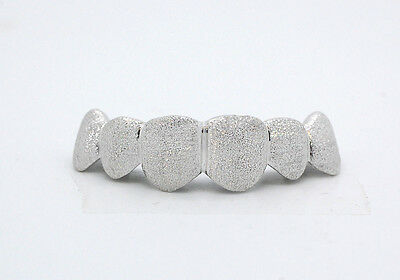 Custom 10K 14K White Gold Grillz Plated Full Diamond Dust Style Punchout Grill