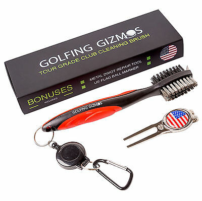 Golf Club Brush Cleaner Premium Tour Grade and Heavy Duty - Ideal Golf Gift