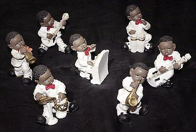 Vintage 7 Piece Set Black Americana Musician Figurines Jazz Band WONG'S INT TRAD