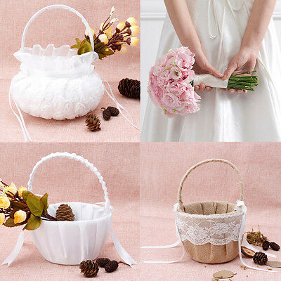 Romantic Bowknot Burlap Satin Wedding Ceremony Party Rose Flower Girl Basket
