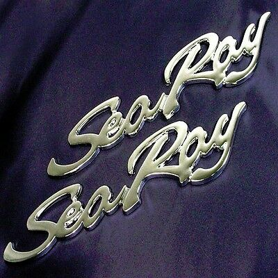 2 Brand New BIN SEARAY SEA RAY CHROME Scripts Badge Emblem Factory Replacement