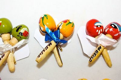 Mini maracas on a pin to wear clothes accessory party decoration set 4