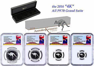 2016 Australia Red Kangaroo Silver Proof 4 Coin Set NGC PF70 1 1/2 1/4 1/10oz ER