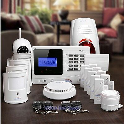 HOMSECUR Wireless GSM SMS Autodial Pet Friendly Home Alarm System+720P IP Camera