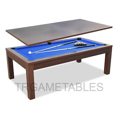 7FT Billiard Convertible Walnut / Blue Table for Pool Snooker Billiard or Dining