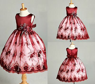 NEW Floral Burgundy Lace Brokee Summer Easter Wedding Princess Girl Dress#011