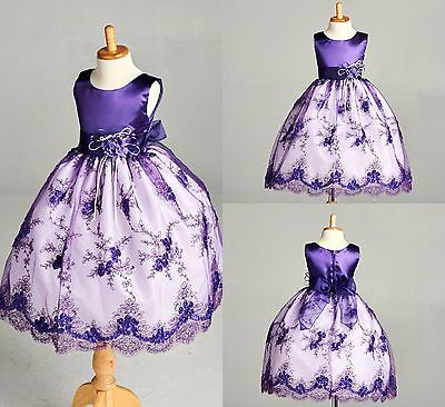 Purple Flower Girl Bridesmaids Summer Easter Lace Brokee Wedding Dress#11