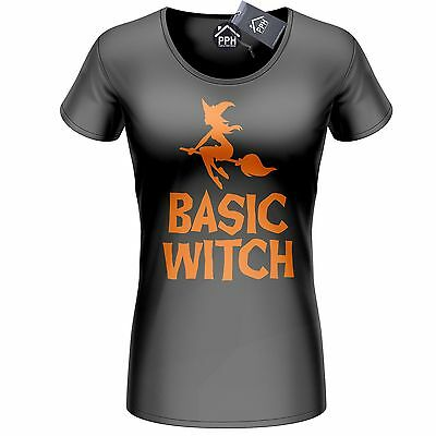 Basic Witch Tshirt Hocus Pocus Womens Top Girls Outfit Halloween Fancy Dress 336