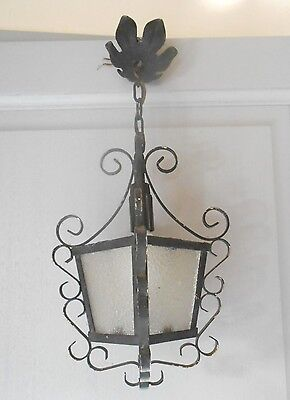 Old FRENCH SCROLLED Iron Glass LANTERN Fixture