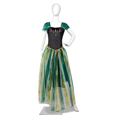 Adults Womens Frozen Princess Anna Costume Party Fancy Dress Outfit Halloween