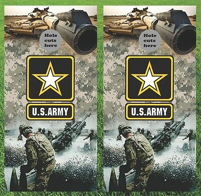 "U.S. Army Military Cornhole Wrap Decals Bag Toss 3M Vinyl 24x48"" Fast Shipping"