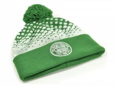 Glasgow Celtic FC Green White Turn Up Knitted Winter Bobble Beanie Hat Official
