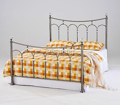 FoxHunter Nickel Plated Metal Bed Frame Bedstead 4FT6 Double Black With Crystals
