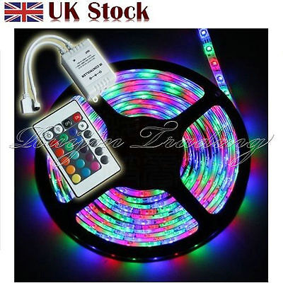 5M 3528 SMD RGB 300 LEDs Waterproof Flexible Strip Lighting12V+Receiver+Remote