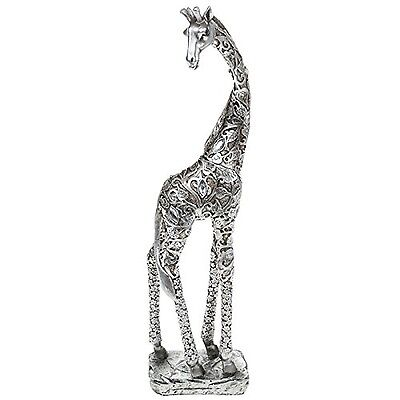 LARGE SILVER GIRAFFE STANDING WITH LEAVE DETAIL FIGURE ORNAMENT NEW BOXED 38cm
