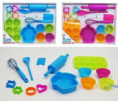 14 Piece Childrens Silicone Bakeware Baking Set - Cupcake Cake Cutters Cookie...