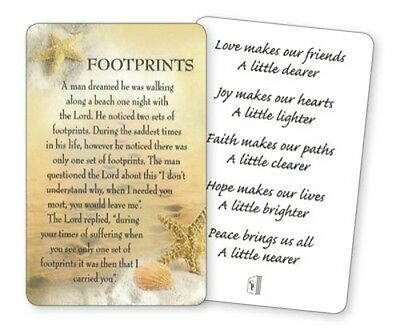 Footprints - A Man Dreamed He Was Walking .... Laminated Verse / Prayer Card