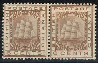 British Guiana 1876 6c Brown SG129 Fine & Fresh Mtd Mint Pair
