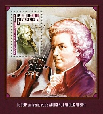 Z08 CA16105b CENTRAL África 2016 Wolfgang Amadeus Mozart MNH