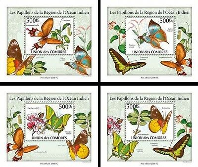 Z08 Cmdelux02perf COMORES 2010 Papillons 4 x s/s MNH