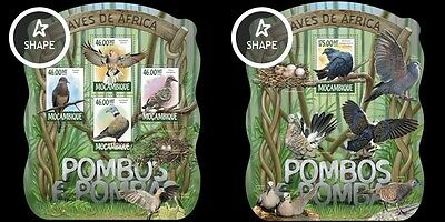 Z08 MOZ15224ab MOZAMBICO 2015 Piccioni and colombe Uccelli MNH SET
