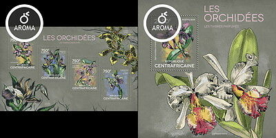 CA14317ab Central Africa 2014 orchids orchidees – Perfumed MNH SET