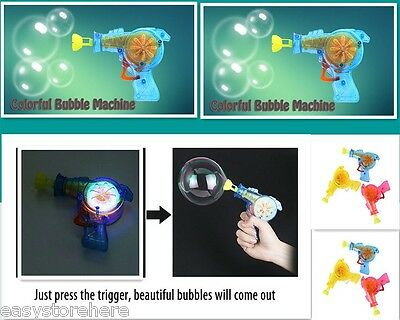 Kids Colorful Bubble Gun Machine Outdoor Funny Playing Toy with LED Light