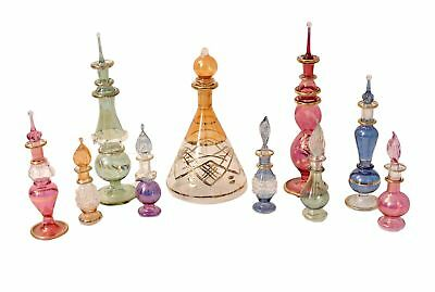 Egyptian perfume bottles Mix Collection a Set of 10 hand Blown Decorative Pyr...