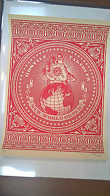 Shepard Fairey - hostile takeover red- signed & numbered - Obey