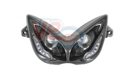 Yamaha Aerox - TNT Carbon Fibre Look Twin Headlamp - White Audi Style LED Lights