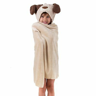 Aroma Home Kids Cosy Up Animal Hooded Fleece Blanket & Travel Pillow: DOG