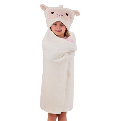 Aroma Home Kids Cosy Up Animal Hooded Fleece Blanket & Travel Pillow: LAMB