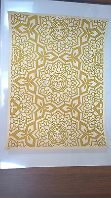 Shepard Fairey - yen pattern gold, signed & numbered - Obey