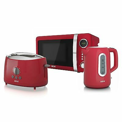 Akai 20Ltr Digital Microwave Jug Kettle & 2 Slice Toaster Set In Red - Brand NEW