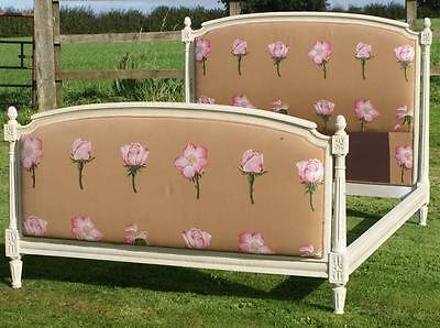 PRETTY EARLY / MID 20th CENTURY   FRENCH PAINTED UPHOLSTERED DOUBLE BED