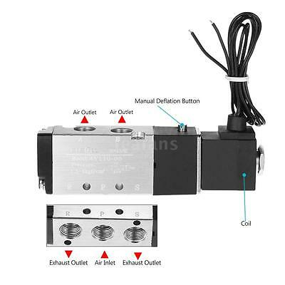 1/8'' 2 Position 5 Way Pneumatic Solenoid Electric Air Valve DC 12V w/ Wire N6F3