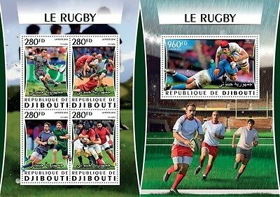 Z08 IMPERFORATED DJB16317ab DJIBOUTI 2016 Rugby MNH Set