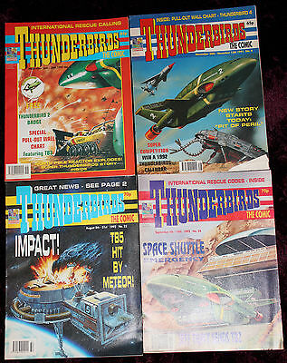 4 Issues of Thunderbirds Comics  4,22,24 & Issue 3 with Badge