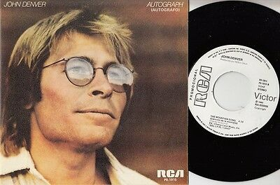 "JOHN DENVER - Autograph - r@re SPANISH 7"" single 45 Spain 1980 PROMO"