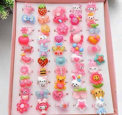 10Pcs Wholesale Mixed Lots Cute Cartoon Children/Kids Resin Lucite Rings Bulk
