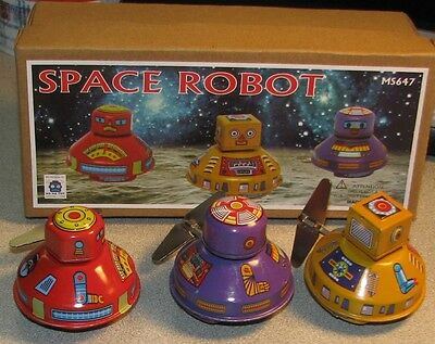 Space Robots Mystery Motion Set of 3 Tin Toy Brand New Robby Robot