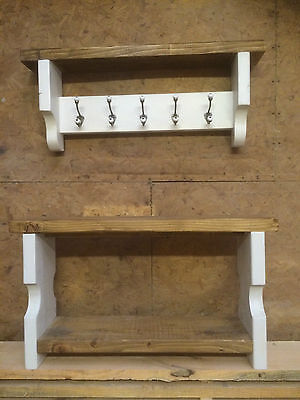 Hall Set - Solid Wood Shoe Bench and Coat hooks