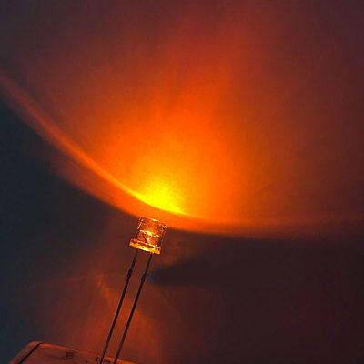 100 x 5mm Amber Ultra Bright LED Light Diode Flat Top 9000 MCD Wide Angle